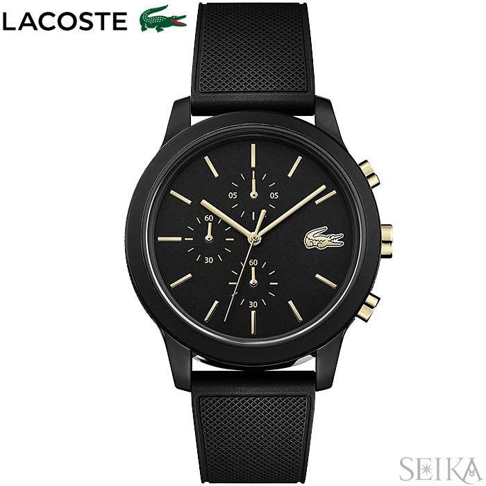 【レビューを書いて5年保証】ラコステ LACOSTE 12.12 2011012(150)時計 腕時計 メンズ ブラック ゴールド ラバー 黒い腕時計
