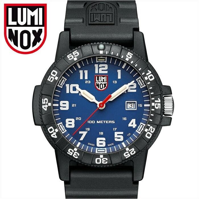 ルミノックス LUMINOX 0323(17)レザーバックシータートル時計 腕時計 メンズ レディース ユニセックスブルー ブラック ラバー42mm T25表記