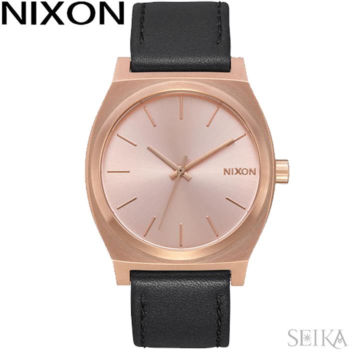 NIXON ニクソン タイムテラー A045-1932時計 腕時計 メンズ レディース ローズゴールド ブラック レザー A0451932-00【母の日】