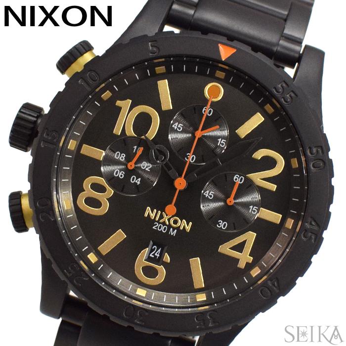 【レビューを書いて5年保証】ニクソン NIXON 48-20クロノ A486-1032 A4861032 時計 腕時計 メンズ ブラック(D10) ギフト
