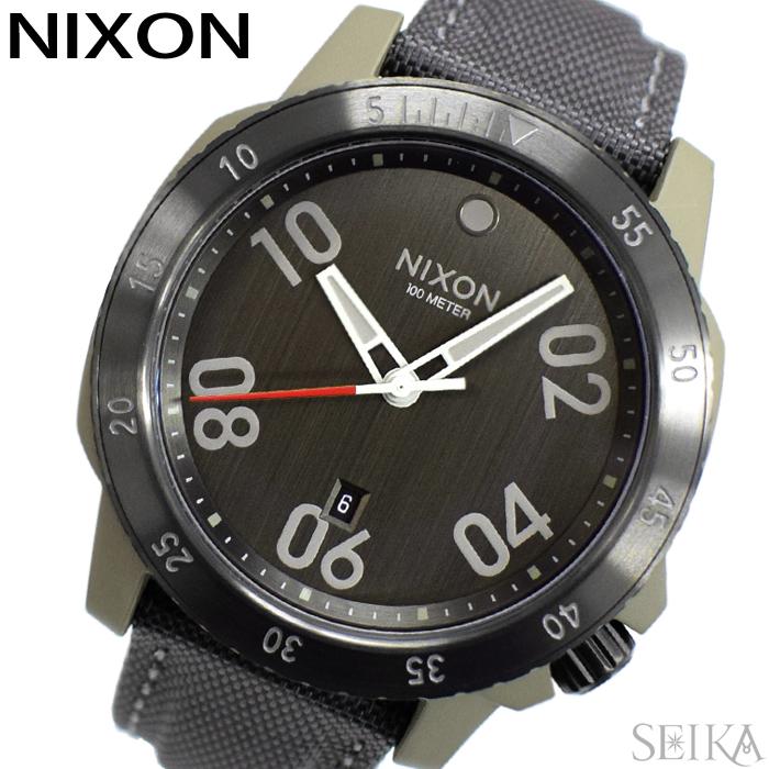 【レビューを書いて5年保証】ニクソン NIXON レンジャーナイロン A942-2220 A9422220 時計 腕時計 メンズ ガンメタル ナイロンベルト ミリタリー(D10) ギフト