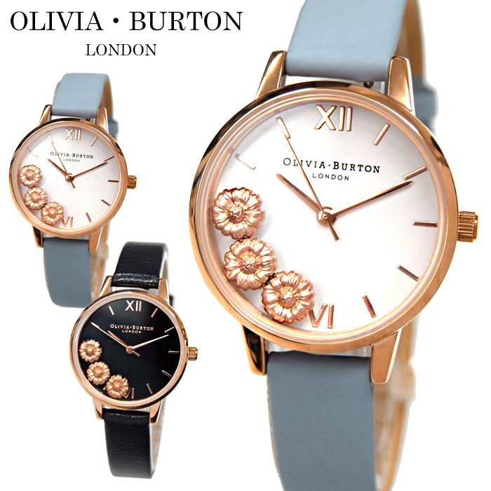 【商品入れ替えクリアランス】オリビアバートン/OLIVIA BURTONフラワー 時計 腕時計 レディース 30mmブラック ブルー ピンクゴールド レザー