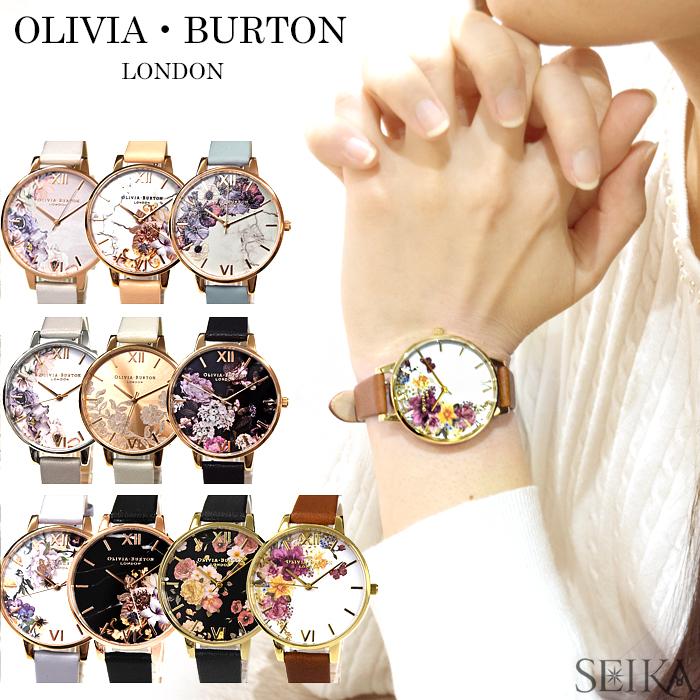 올리비아 바턴/OLIVIA BURTON 레더 38 mm플라워 시계 손목시계 레이디스 꽃무늬