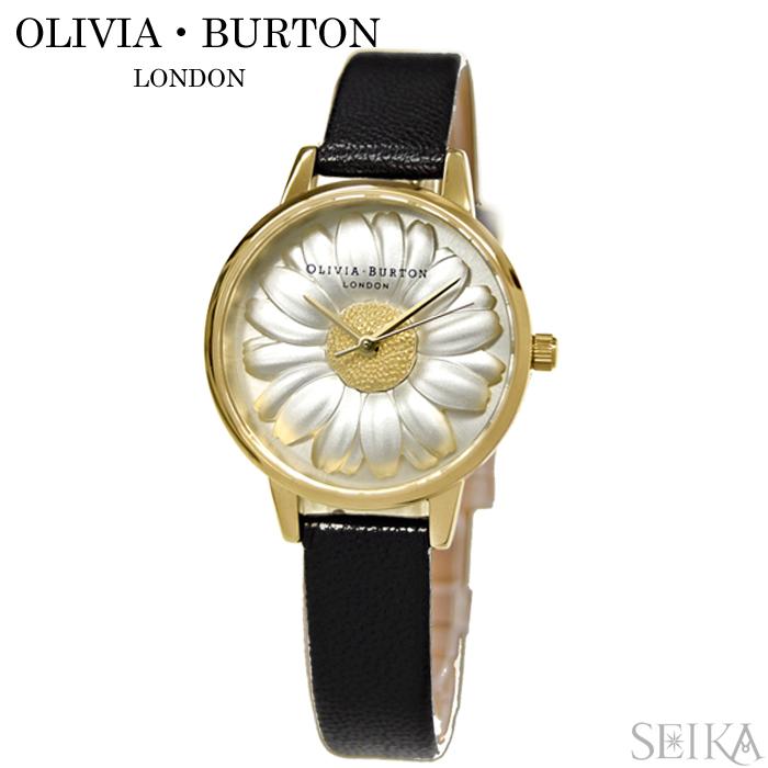 (訳有り ベルト裏に若干の汚れ有り)オリビアバートン OLIVIA BURTON OB15EG38(1)時計 腕時計 レディース フラワー ブラック レザー