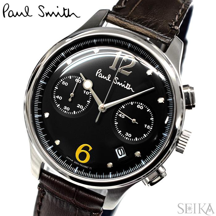 【レビューを書いて5年保証】ポールスミス PAUL SMITH BX2-019-52(9) The City Two Counter Chronograph 時計 腕時計 メンズ ブラック ブラウン レザー ギフト