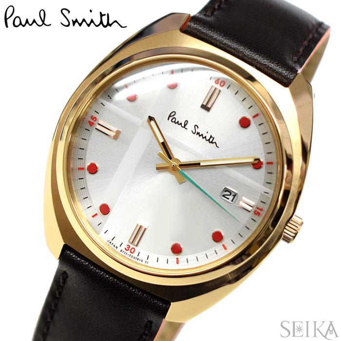 【レビューを書いて5年保証】ポールスミス PAUL SMITH KH2-821-90(30) Closed eyes 時計 腕時計 メンズ ブラウン レザー ソーラー 父の日