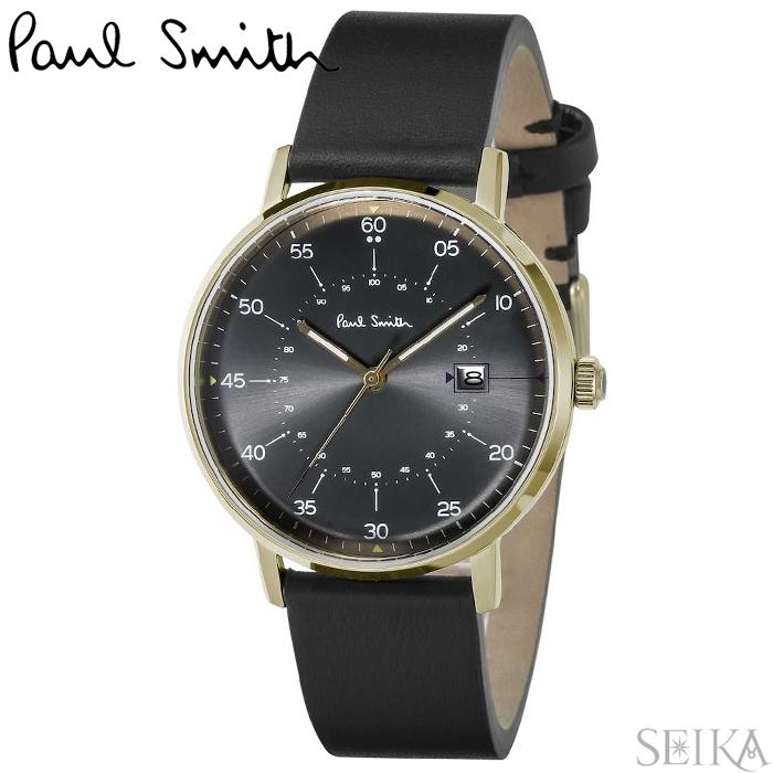 ポールスミス 腕時計 時計 PAUL SMITH GAUGEP10076 (PSP10076) ブラック ゴールド ブラックレザー 41mm