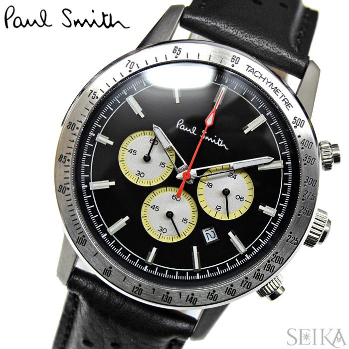 【レビューを書いて5年保証】【サマークリアランス】ポールスミス PAUL SMITH PS0110001(62)時計 腕時計 メンズ ブラック レザー クロノグラフ ギフト【0703】