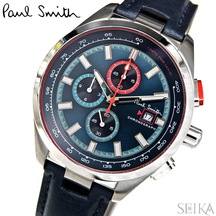 【レビューを書いて5年保証】ポールスミス PAUL SMITH PS0110012(53) 時計 腕時計 メンズ ネイビー レザー クロノグラフ ギフト