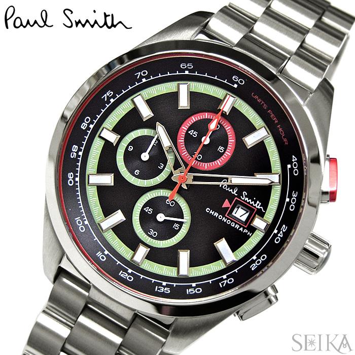 【レビューを書いて5年保証】ポールスミス PAUL SMITH PS0110015(54) 時計 腕時計 メンズ ブラック シルバー クロノグラフ ギフト