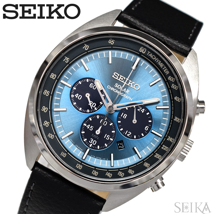 セイコー SEIKO SSC625P1(51)時計 腕時計 メンズ ブルー ブラックレザーソーラー 逆輸入【ID】
