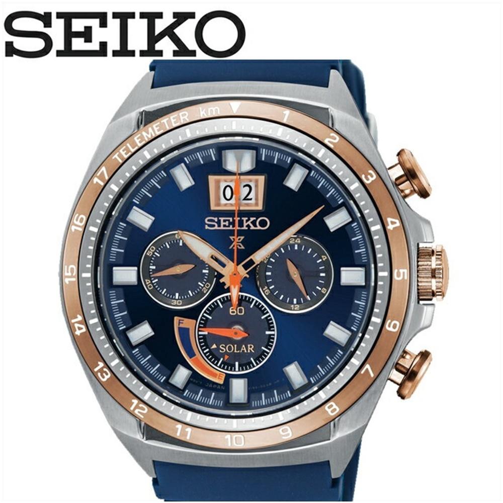 (特典付き!)セイコー SEIKO SSC666P1(53)時計 腕時計 メンズ ネイビー ラバーソーラー 逆輸入【ID】