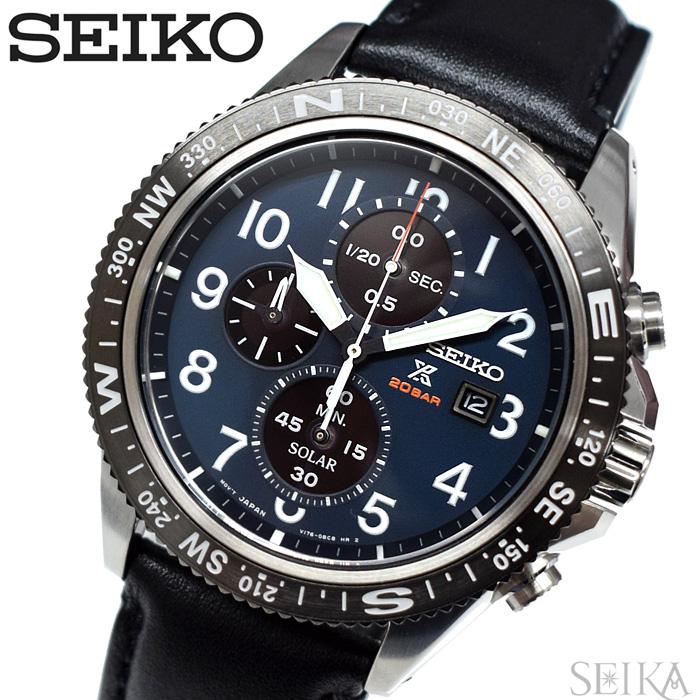 【レビューを書いて5年保証】セイコー SEIKO SSC737P1(122) プロスペックス ソーラー クロノグラフ 時計 腕時計 メンズ ネイビー ブラック レザー 海外モデル 逆輸入 ギフト