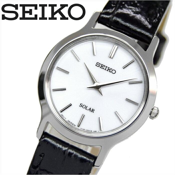 セイコー SEIKO SUP299P1(28)ソーラー クオーツ 時計 腕時計レディース ブラック レザー海外モデル 逆輸入【ID】