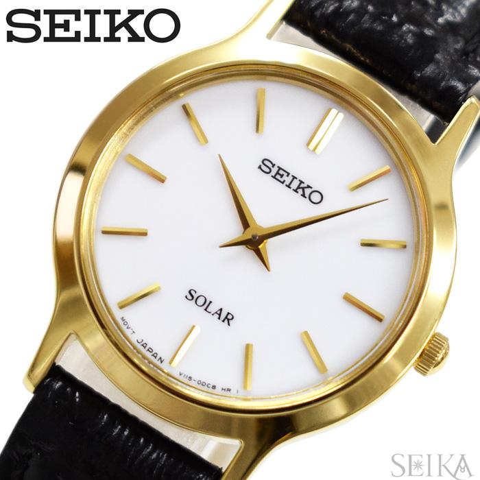 セイコー SEIKO SUP300P1(74) ソーラー時計 腕時計 レディース ブラック レザー海外モデル 逆輸入【ID】