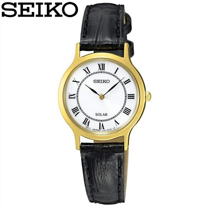 セイコー SEIKO SUP304P1(42) ソーラー時計 腕時計 レディース ゴールド ブラック レザー海外モデル 逆輸入【ID】