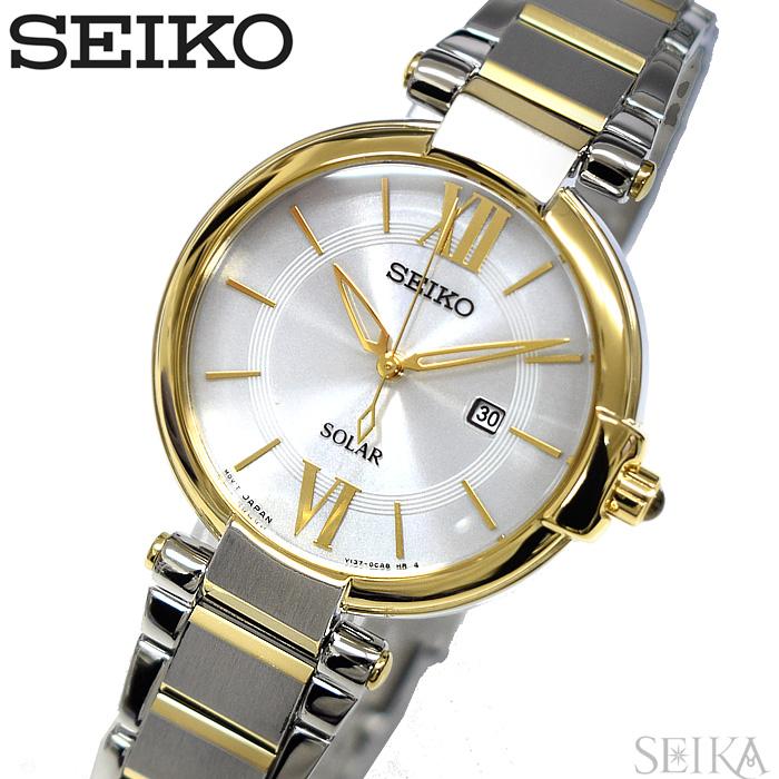 【レビューを書いて5年保証】【サマークリアランス】セイコー SEIKO SUT154P1(123)時計 腕時計 レディース シルバー シルバー×ゴールドソーラー 海外モデル 逆輸入【0703】 ギフト