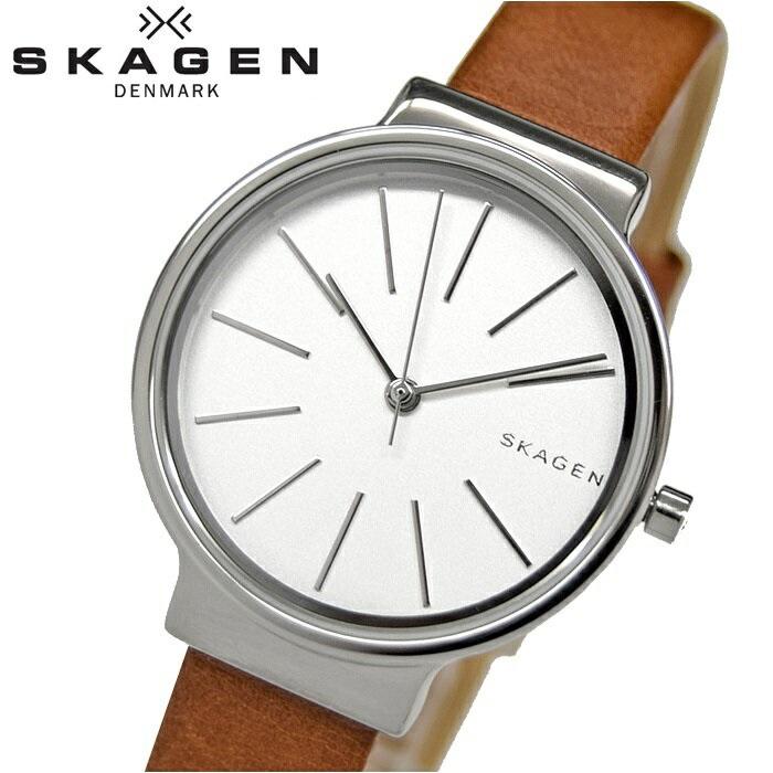 【スーパーSALE】 スカーゲン SKAGEN SKW2479時計 腕時計 レディースホワイト シルバー ブラウン レザー 白い腕時計