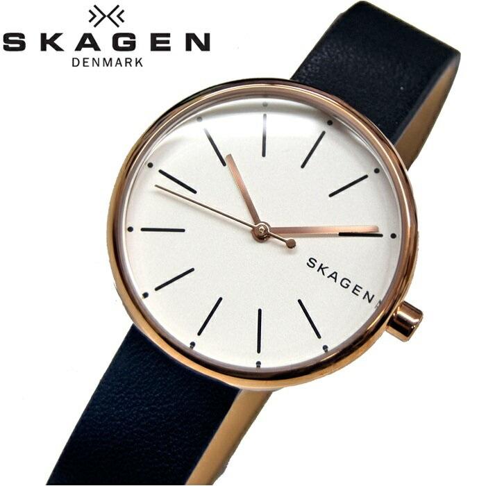 スカーゲン SKAGEN SKW2592時計 腕時計 レディースホワイト ネイビー レザー【ID】