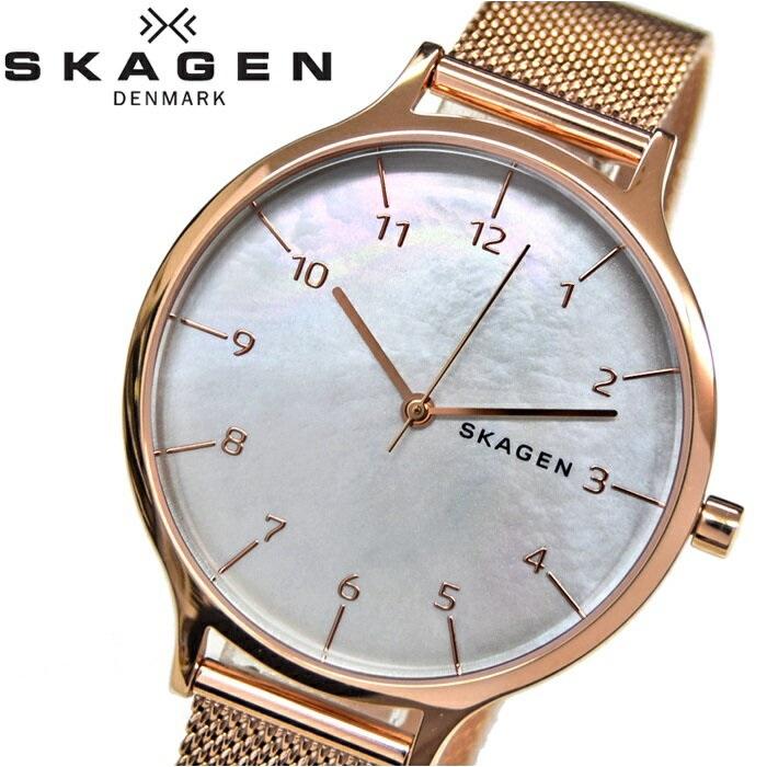 【レビューを書いて5年保証】スカーゲン SKAGEN ANITASKW2633 時計 腕時計 レディースホワイトシェル ローズゴールド【ID】 白い腕時計