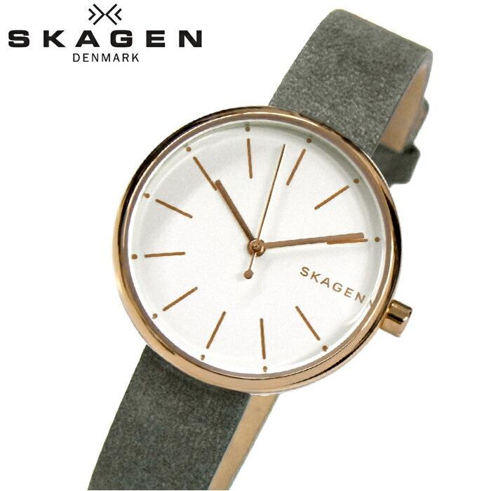 スカーゲン SKAGEN シグネチャー SIGNATUR SKW2644 時計 腕時計 レディースホワイト グレー レザー