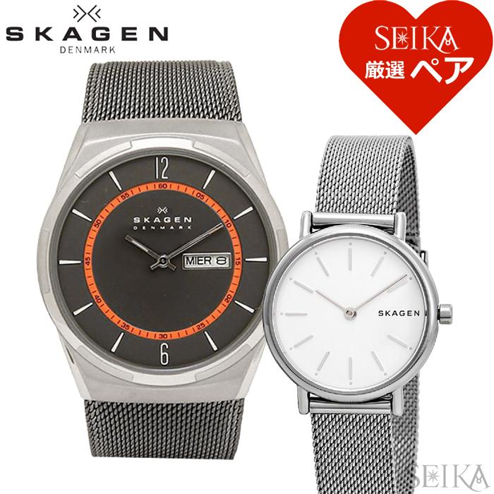 【ペア価格】ペアウォッチ スカーゲン SKAGEN SKW6007 メンズ SKW2692 レディース時計 腕時計 グレー ホワイト シルバー メッシュ【SEIKA厳選ペア】
