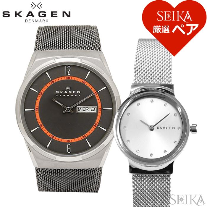 【スーパーSALE】 【ペア価格】ペアウォッチ スカーゲン SKAGEN SKW6007 メンズ SKW2715 レディース時計 腕時計 グレー シルバー メッシュ