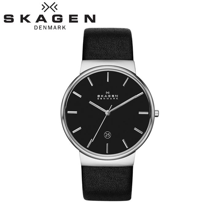 【クリアランス】スカーゲン SKAGENSKW6104 時計 腕時計 メンズブラック レザー【ID】【G2】