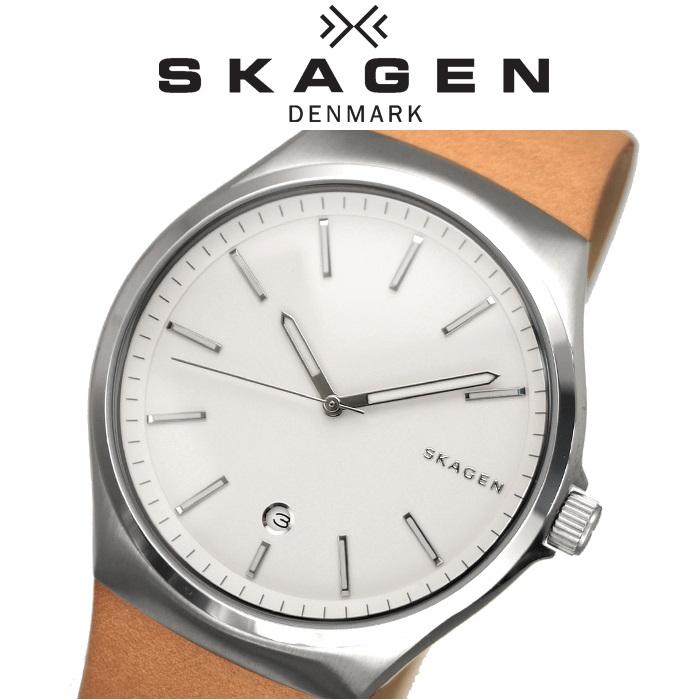 【レビューを書いて5年保証】【サマークリアランス】SKAGEN時計 腕時計 メンズレザー ホワイト ライトブラウン SKW6261 白い腕時計 ギフト