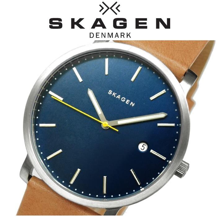スカーゲン SKAGEN時計 腕時計 メンズ レディース ユニセックスレザー ブルーシルバー ブラウン SKW6279【G2】