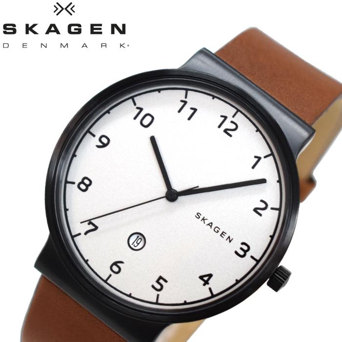 【スーパーSALE】 スカーゲン SKAGEN SKW6297 アンカー時計 腕時計 メンズ ブラウン レザー 白い腕時計 プレゼント 父の日