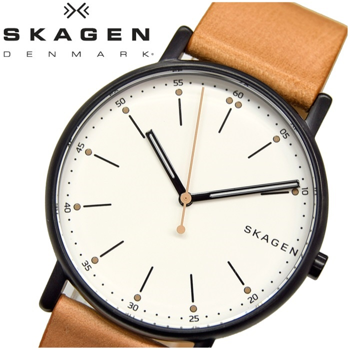 【商品入れ替えクリアランス】スカーゲン SKAGEN時計 腕時計 メンズレザー ブラウン ホワイト SKW6352【ID】【G2】 白い腕時計 クリスマス プレゼント