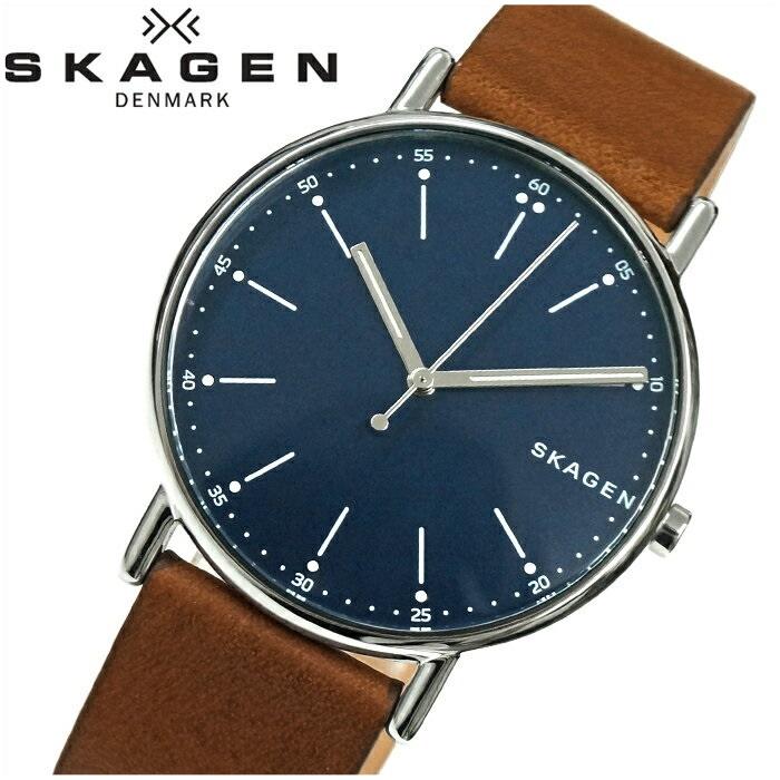 【レビューを書いて5年保証】【サマークリアランス】スカーゲン SKAGEN SKW6355時計 腕時計 メンズブラウン ネイビー レザー 青い腕時計 ギフト