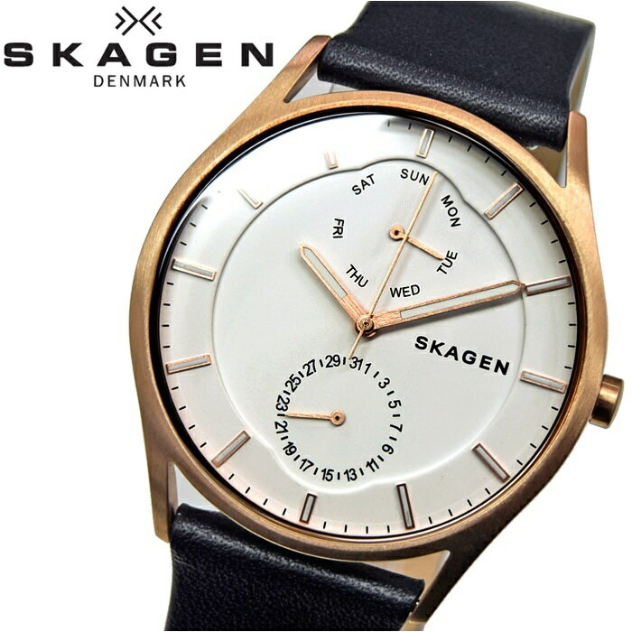 スカーゲン SKAGENSKW6372 時計 腕時計 メンズブラック ピンクゴールド レザー【ID】