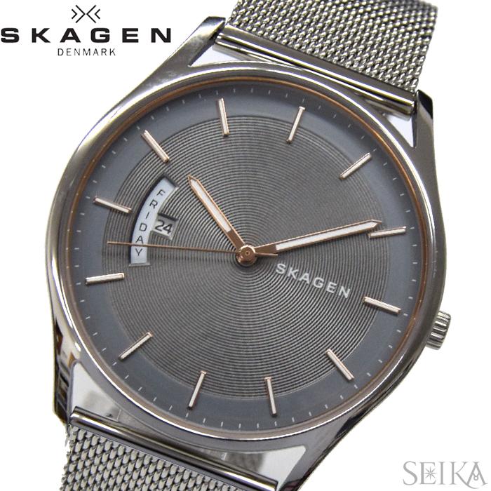 【クリアランス】スカーゲン SKAGENSKW6396 時計 腕時計 メンズHolst グレー ローズゴールド メッシュ 薄型腕時計/スリムモデル【ID】