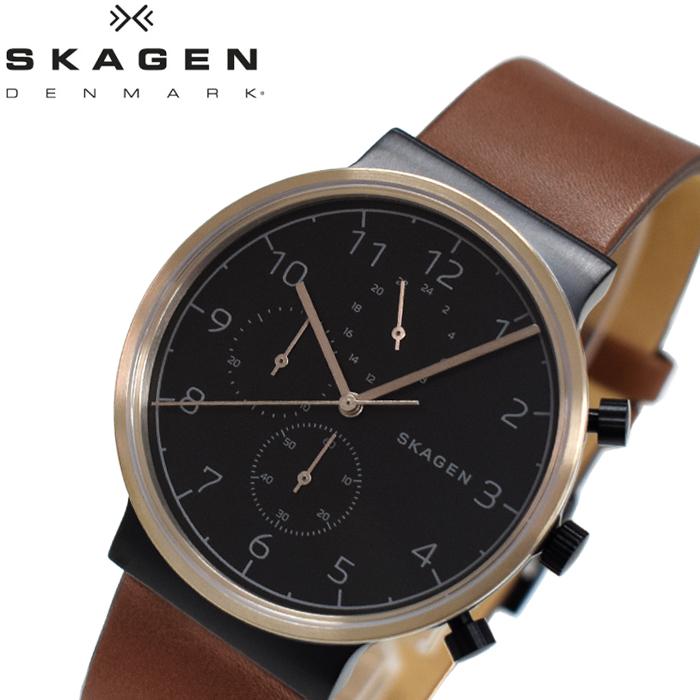 スカーゲン SKAGENSKW6400 時計 腕時計 メンズブラック ブラウン レザー【ID】