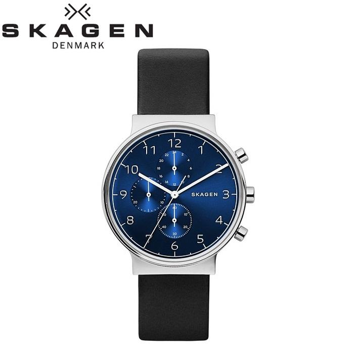 スカーゲン SKAGENSKW6417 時計 腕時計 メンズAncher ブルー ブラック レザー【ID】
