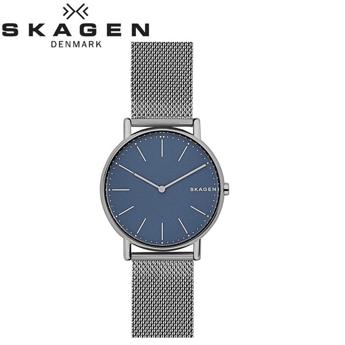 スカーゲン SKAGENSKW6420 時計 腕時計 メンズSignatur Titanium ブルー グレー ガンメタル チタニウム メッシュ 薄型腕時計/スリムモデル
