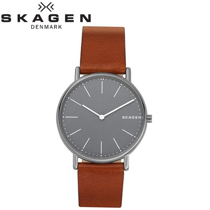 スカーゲン SKAGENSKW6429 時計 腕時計 メンズSignatur Titanium グレー ブラウン チタニウム レザー【ID】