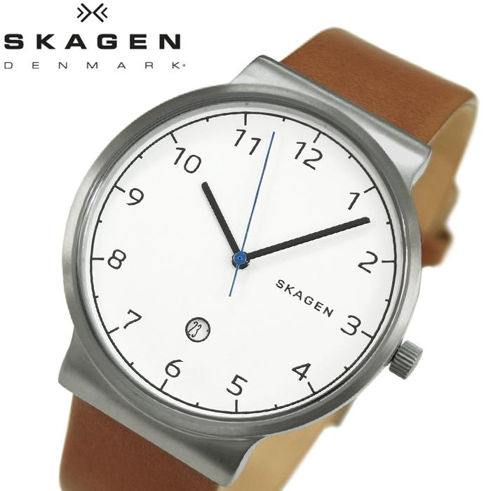 【レビューを書いて5年保証】【サマークリアランス】スカーゲン SKAGEN SKW6433時計 腕時計 メンズ ブラウン レザー 白い腕時計 ギフト