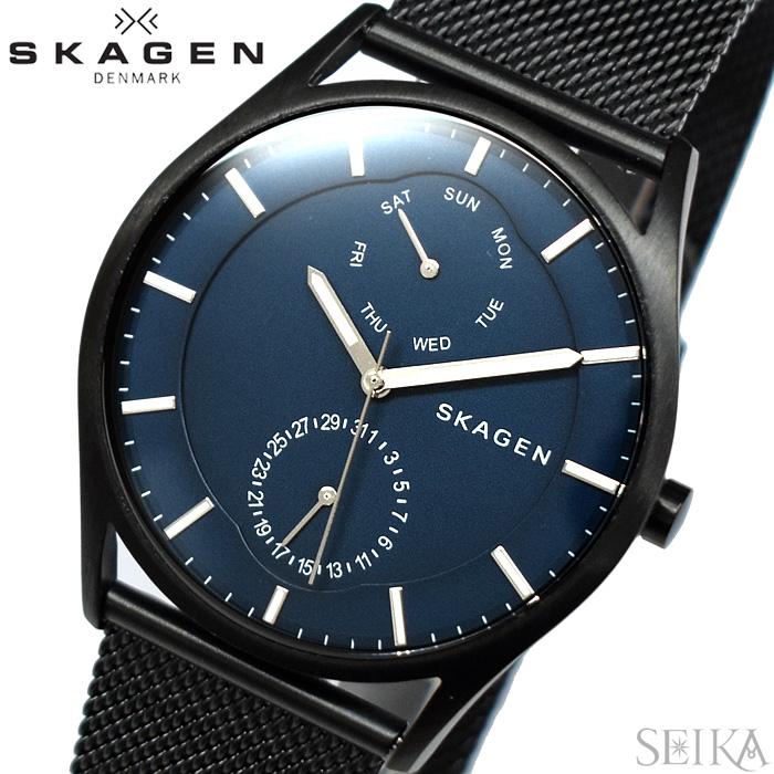 【レビューを書いて5年保証】スカーゲン SKAGEN SKW6450 ホルスト時計 腕時計 メンズ ネイビー ブラック メッシュベルト 青い腕時計 ギフト