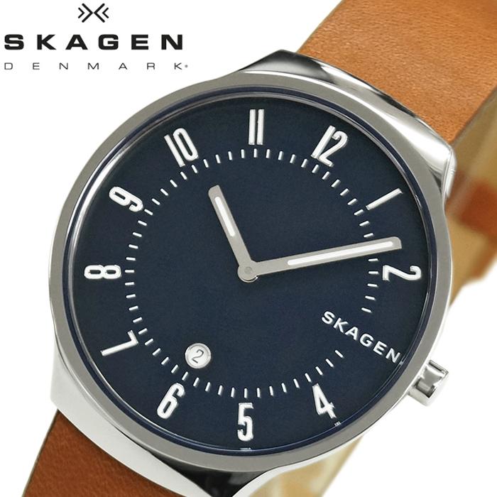 【レビューを書いて5年保証】スカーゲン SKAGEN グレーネン GRENEN skw6457 時計 腕時計 メンズネイビー ブラウン レザー 青い腕時計 ギフト
