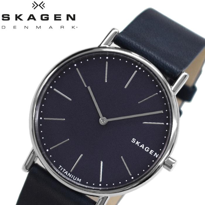 【レビューを書いて5年保証】【サマークリアランス】スカーゲン SKAGEN SKW6481 シグネチャー チタン 時計 腕時計 メンズ ブルー レザー【0703】 ギフト