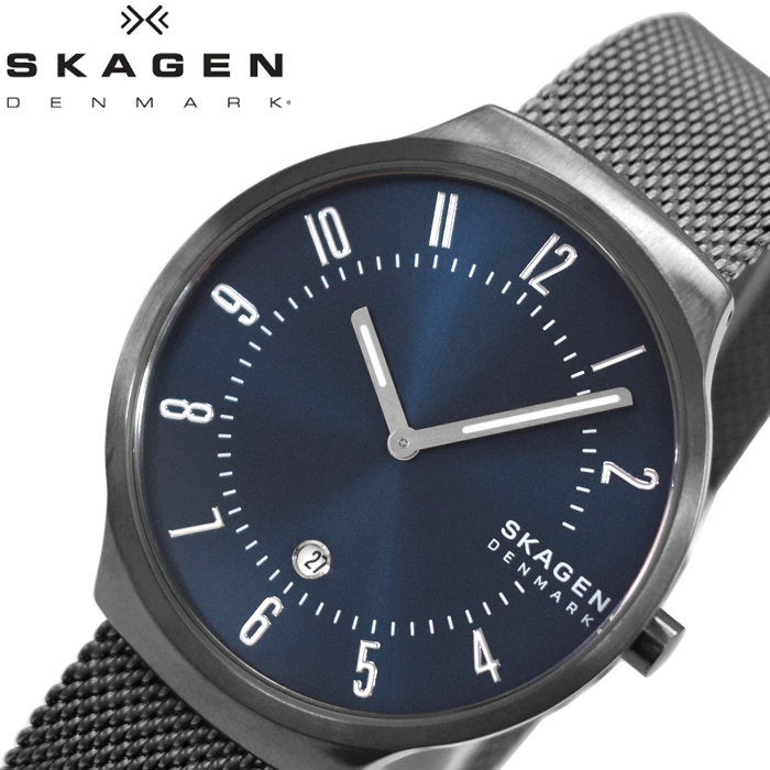 【レビューを書いて5年保証】スカーゲン SKAGEN SKW6517 グレーネン 時計 腕時計 メンズ ブルー ガンメタル メッシュ ギフト