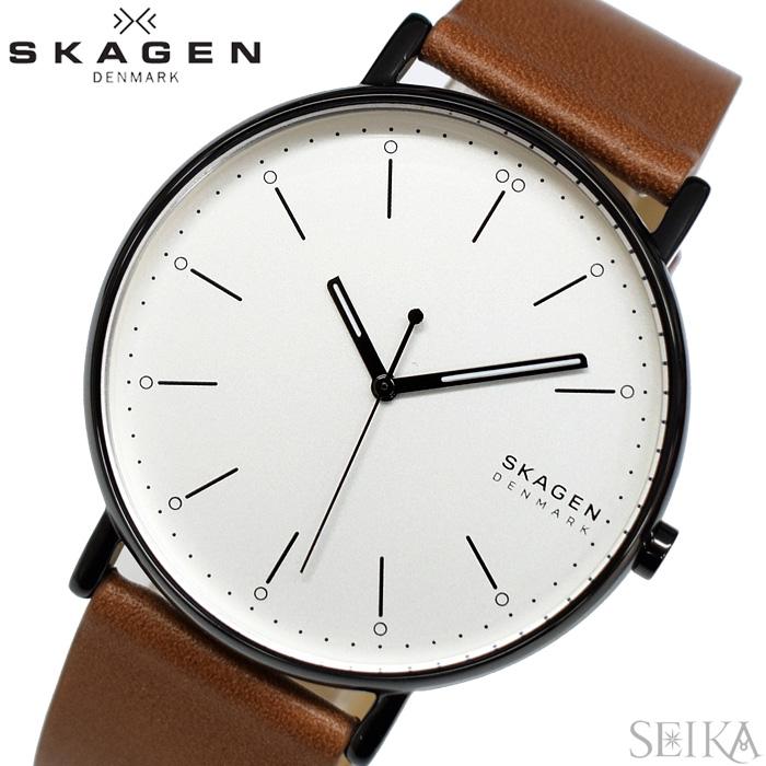 【レビューを書いて5年保証】スカーゲン SKAGEN SKW6550 シグネチャー 時計 腕時計 メンズ ホワイト ブラウン レザー ギフト