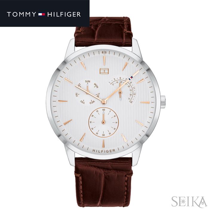 【スーパーSALE】 トミーヒルフィガー TOMMY HILFIGER 1710389 (297)時計 腕時計 メンズホワイトシルバー ダークブラウン レザー 父の日