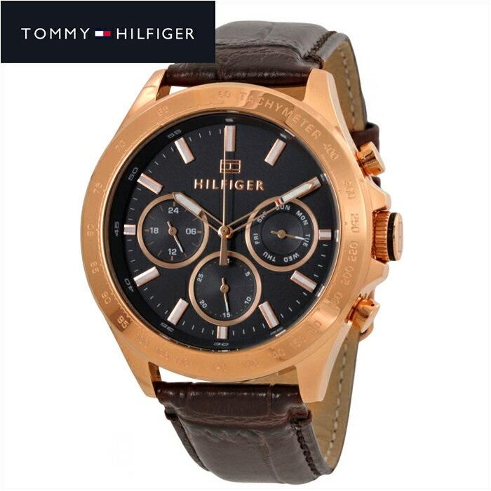 TOMMY HILFIGER トミーヒルフィガー メンズ 時計 1791225(175) ダークグレー ピンクゴールド ブラウンレザー