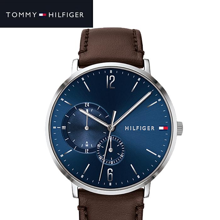 トミーヒルフィガー TOMMY HILFIGER 1791508 (197)時計 腕時計 メンズネイビー ブラウン レザー