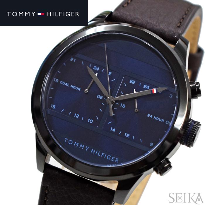 【レビューを書いて5年保証】【サマークリアランス】トミーヒルフィガー TOMMY HILFIGER 1791593(280)時計 腕時計 メンズ ネイビー ブラウン レザー 青い腕時計 ギフト