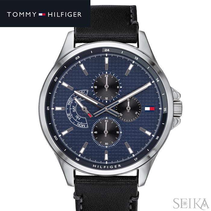 【スーパーSALE】 トミーヒルフィガー TOMMY HILFIGER 1791616 (309)時計 腕時計 メンズネイビーブルー ブラック レザー 父の日